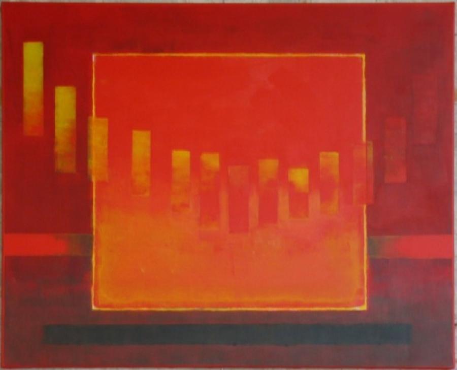 Kunst: cadmiumrood 3 van kunstenaar Koeno Jansen
