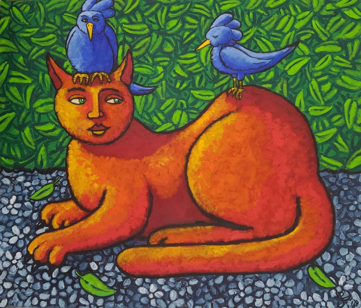Kunst: Cat in paradise van kunstenaar Jacques Tange