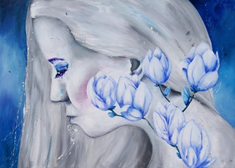 Kunst: Cath in the paint II van kunstenaar Tamara Sille