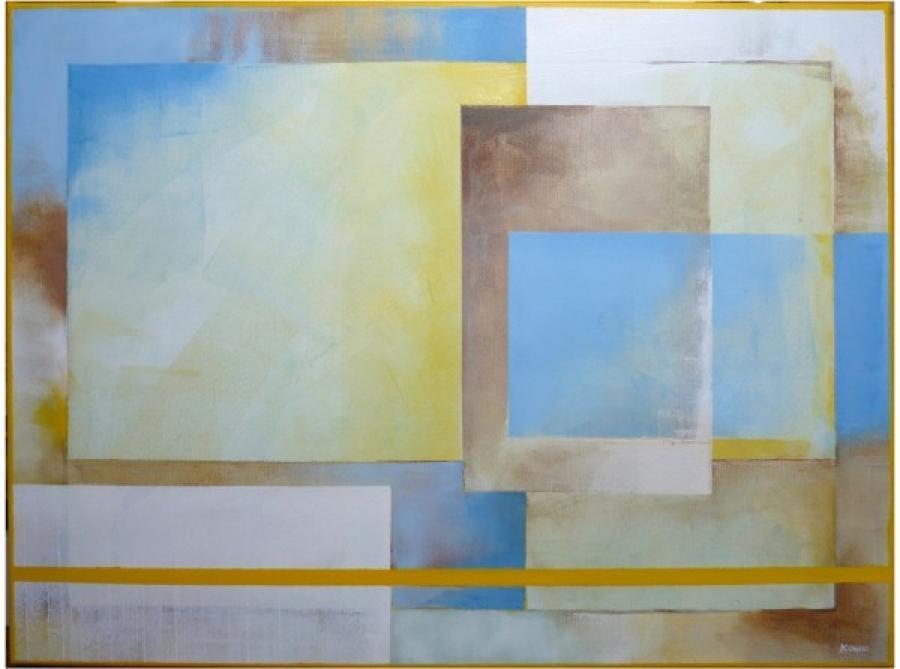 Kunst: cereleumblauw met geel 1 van kunstenaar Koeno Jansen