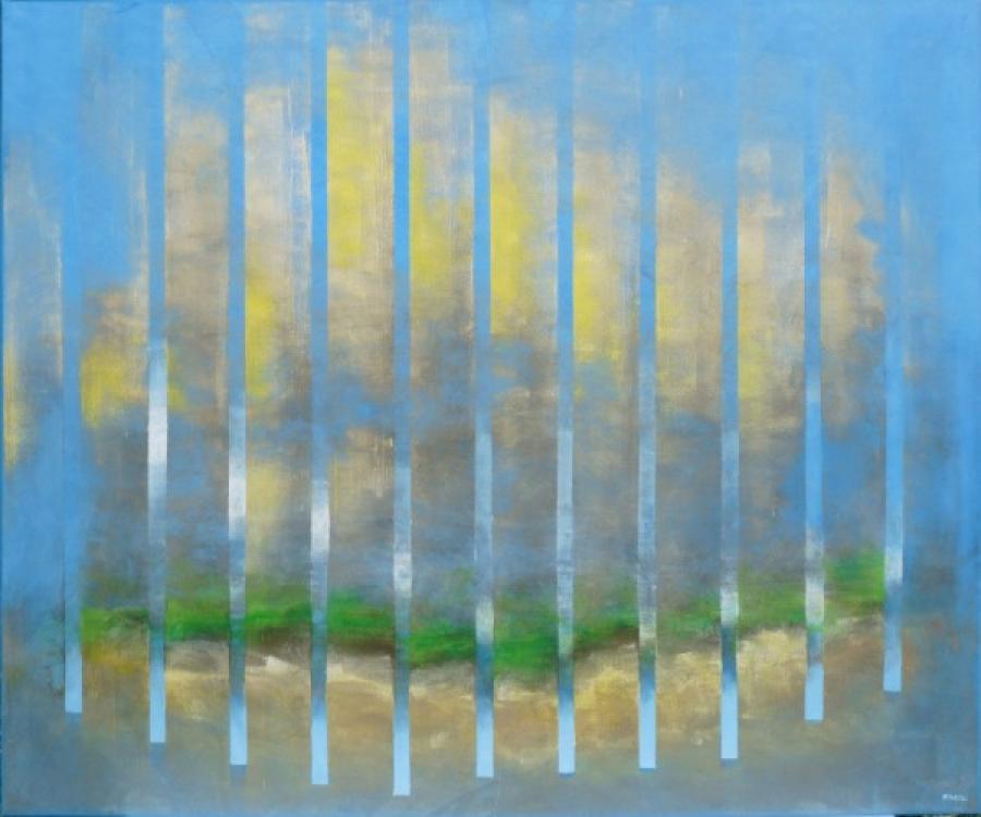 Kunst: cereleumblauw met geel en groen van kunstenaar Koeno Jansen