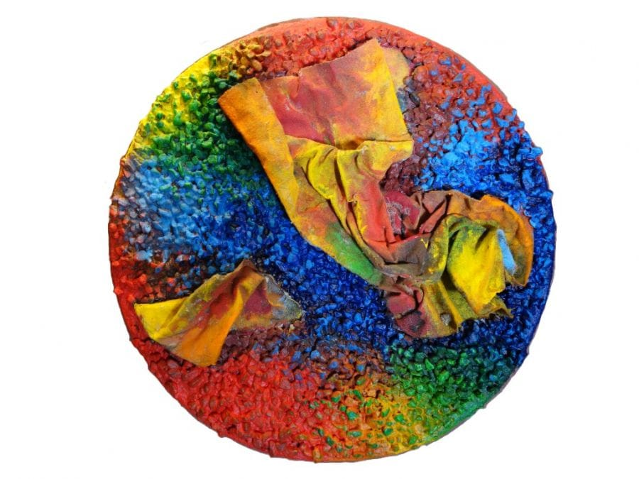 Kunst: Cirkel met steentjes en doek van kunstenaar Koeno Jansen
