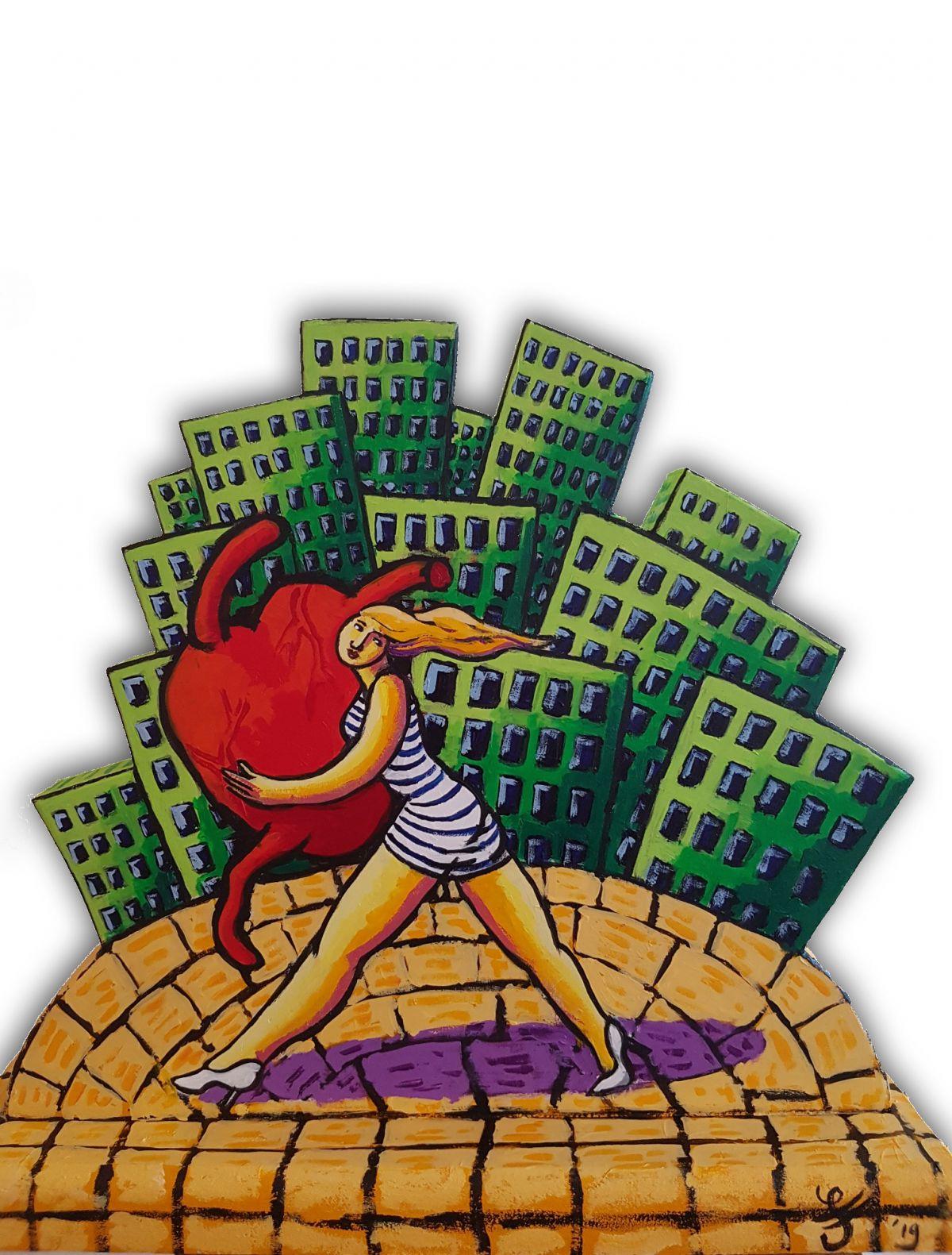 Kunst: City walk of love van kunstenaar Jacques Tange