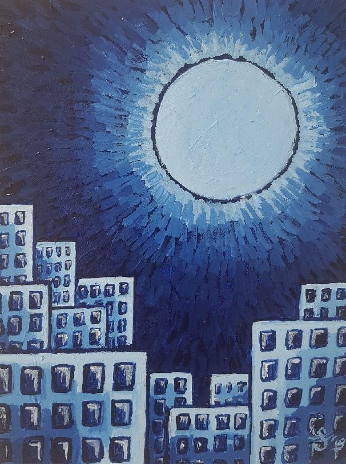 Kunst: City with supernova van kunstenaar Jacques Tange