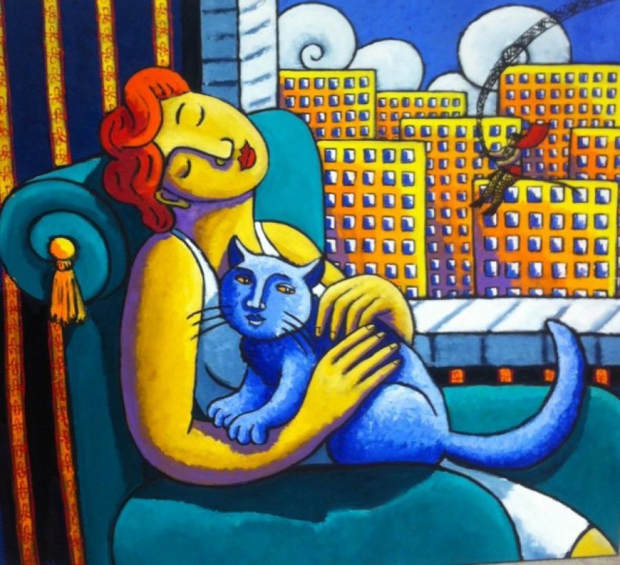 Kunst: Cityscape with Super Hero van kunstenaar Jacques Tange