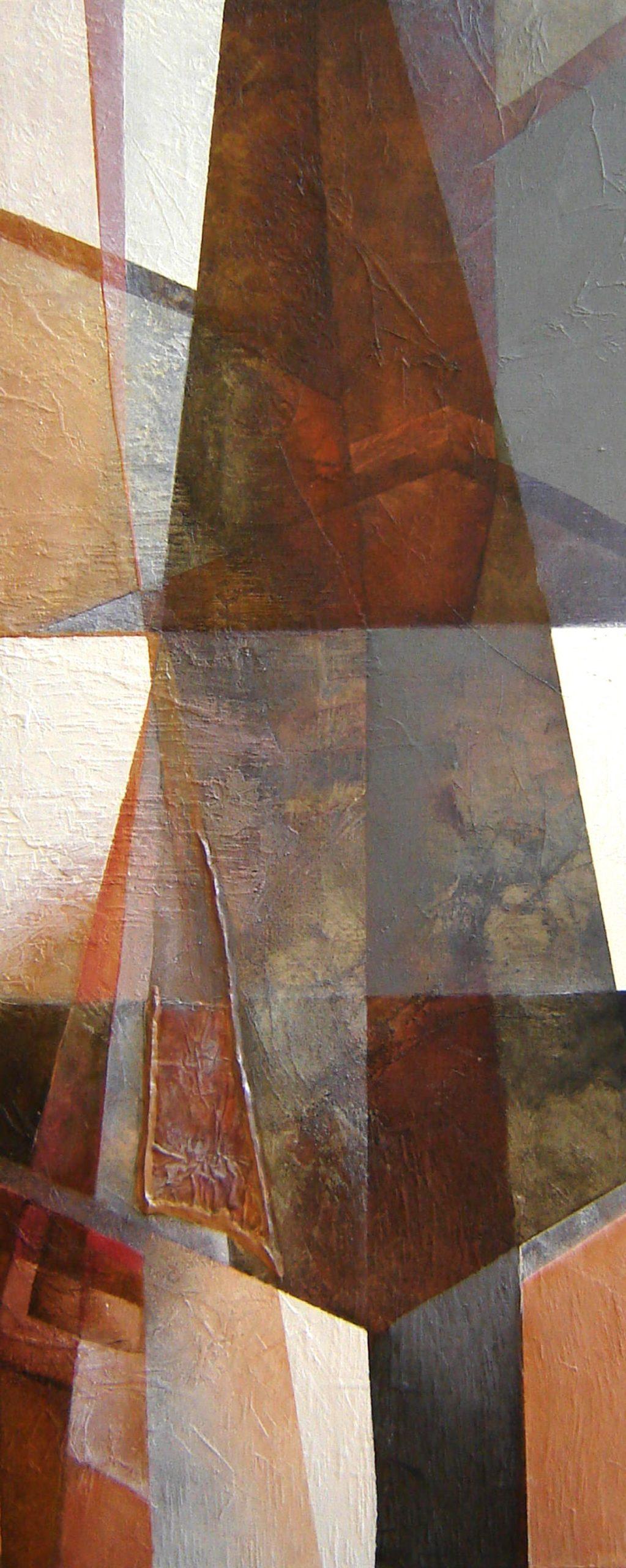 Kunst: Compositie in bruin 1 van kunstenaar Marly Freij(vergezichten)