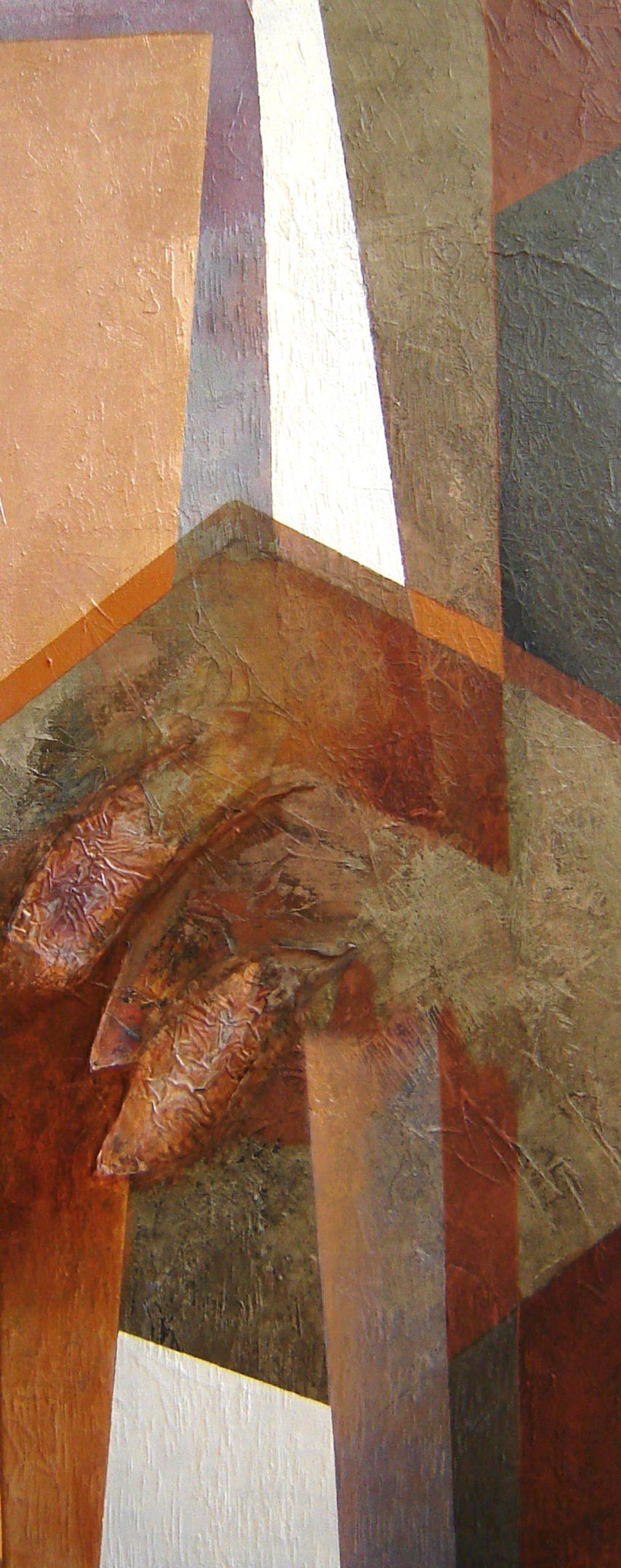 Kunst: Compositie in bruin 2 van kunstenaar Marly Freij(vergezichten)
