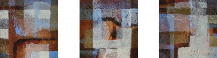 Kunst: Compositie in bruin 3 van kunstenaar Marly Freij(vergezichten)