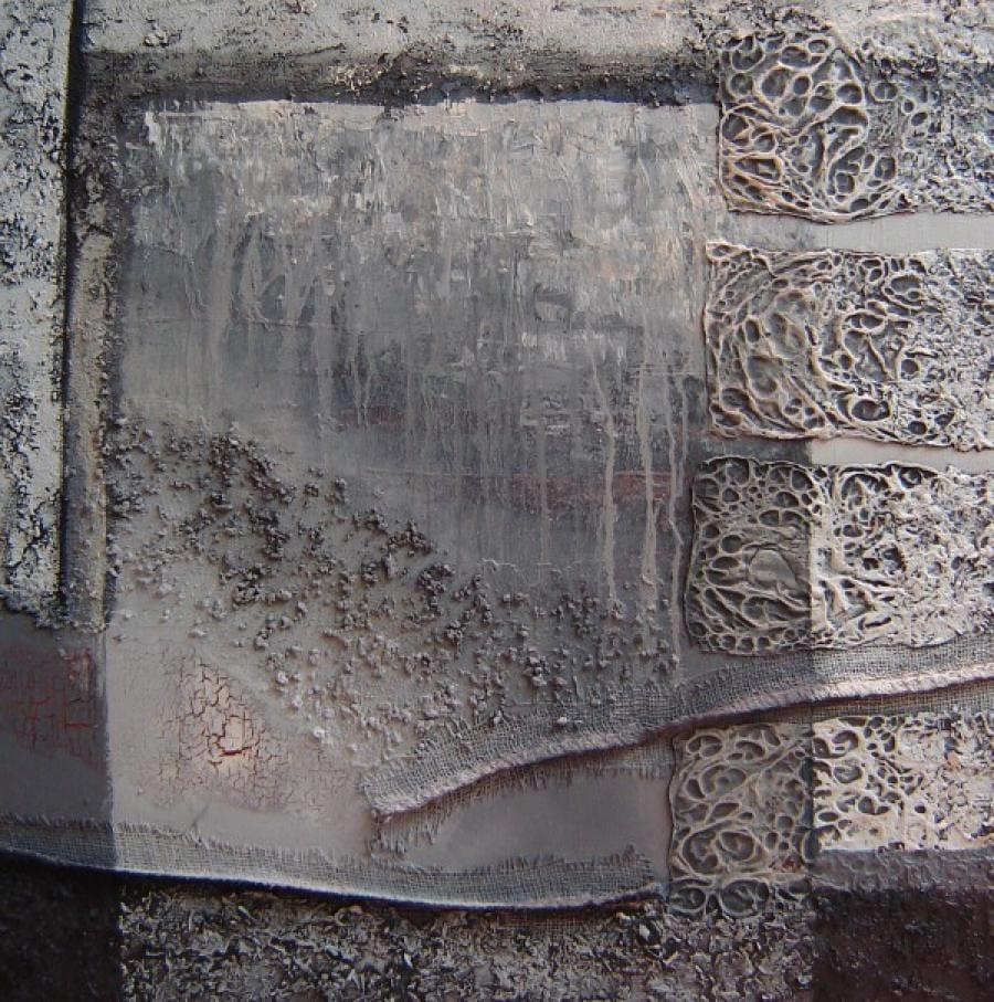 Kunst: Compositie in grijs 4 van kunstenaar Marly Freij(vergezichten)
