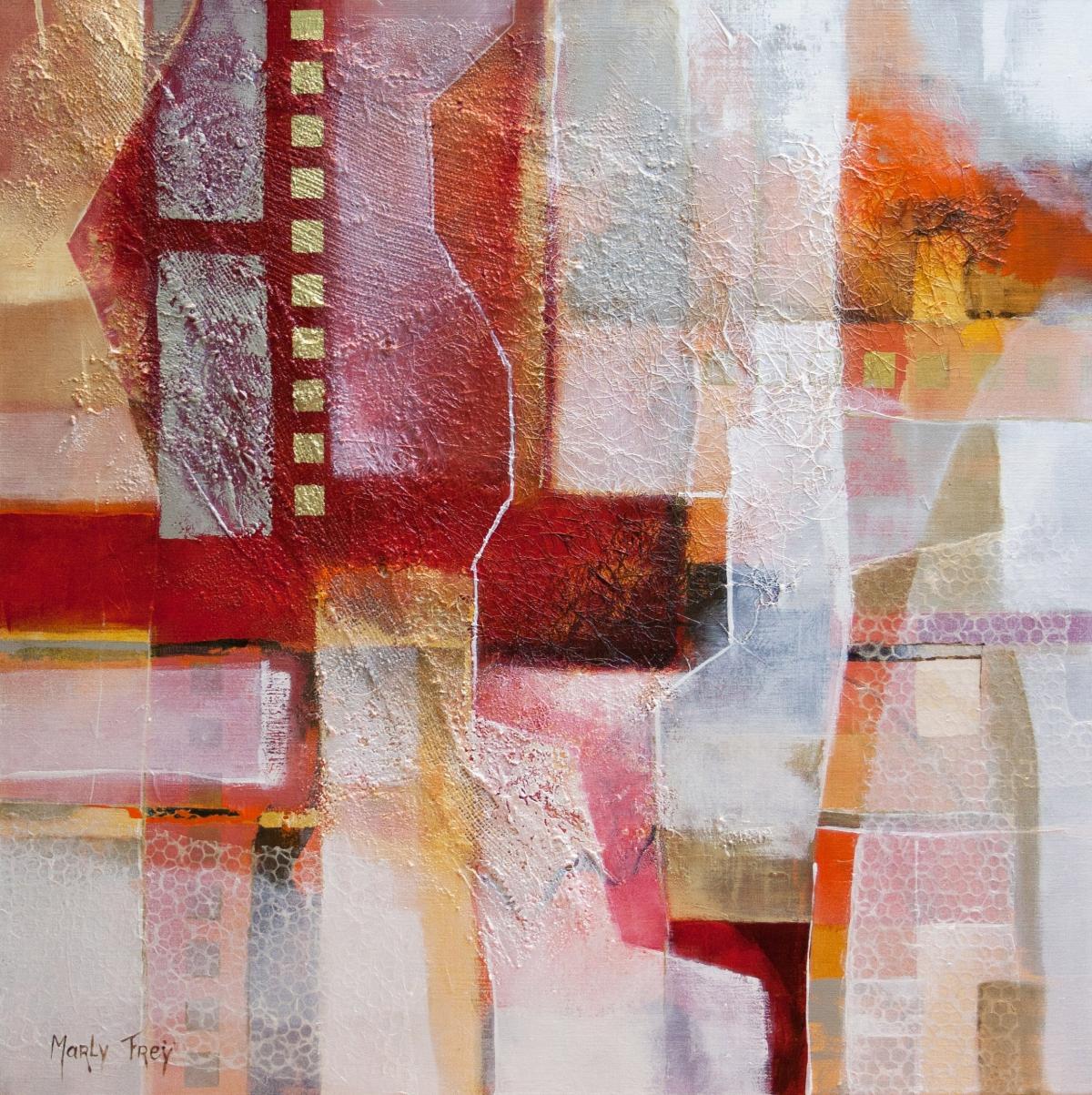Kunst: Compositie in rood 3 van kunstenaar Marly Freij(vergezichten)