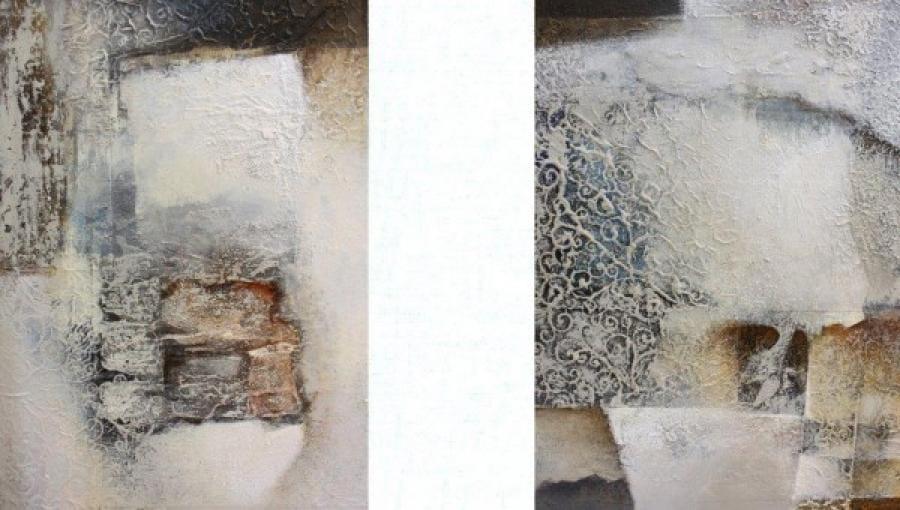 Kunst: Compositie in wit 1 en 2 van kunstenaar Marly Freij(vergezichten)