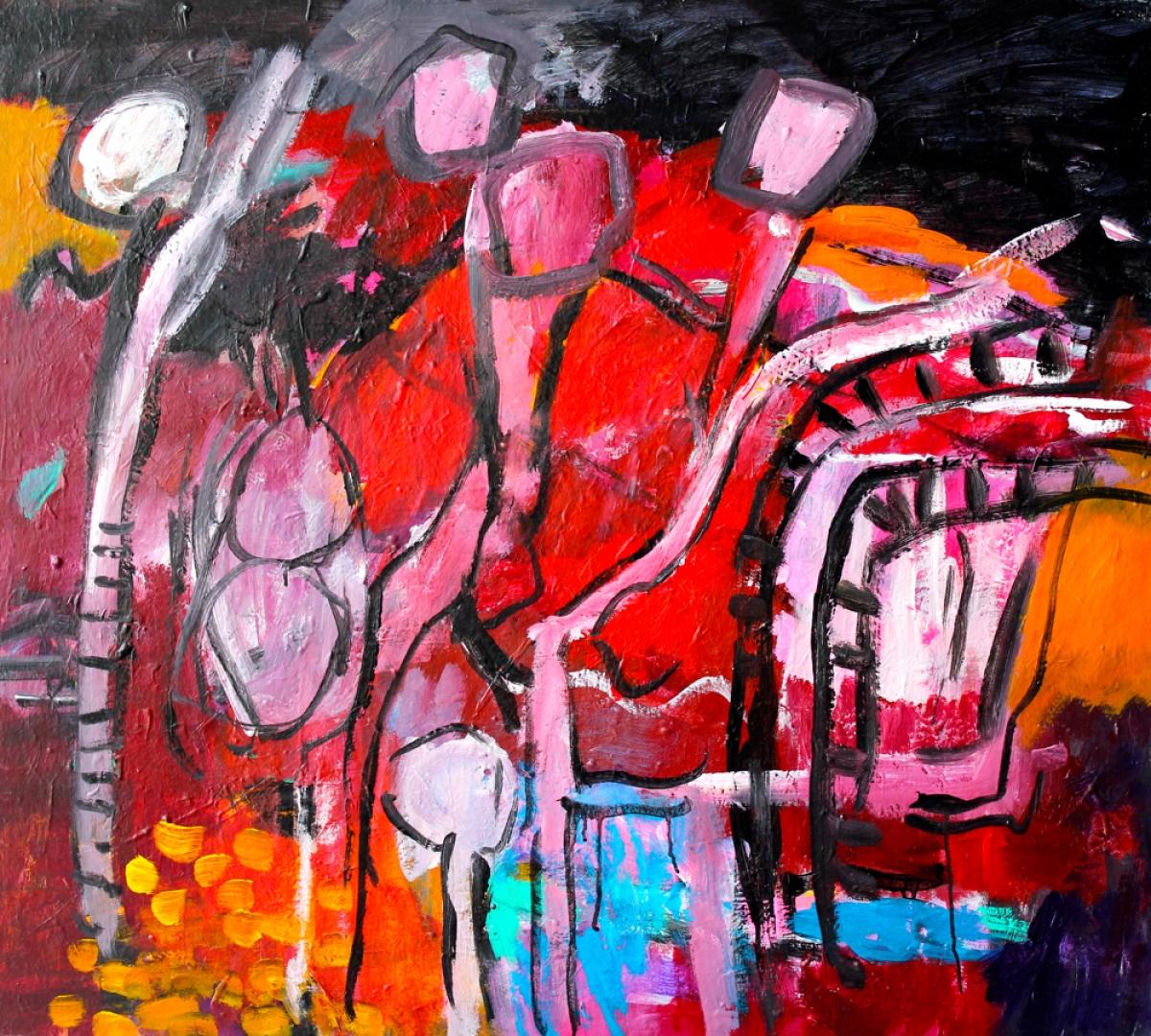 Kunst: Composition 1990 van kunstenaar Engelina Zandstra