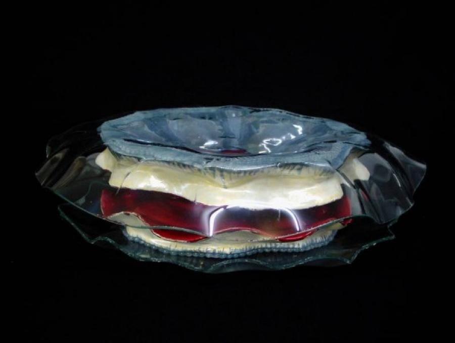 Kunst: Ctenophora blauw rood van kunstenaar Janine Schimkat
