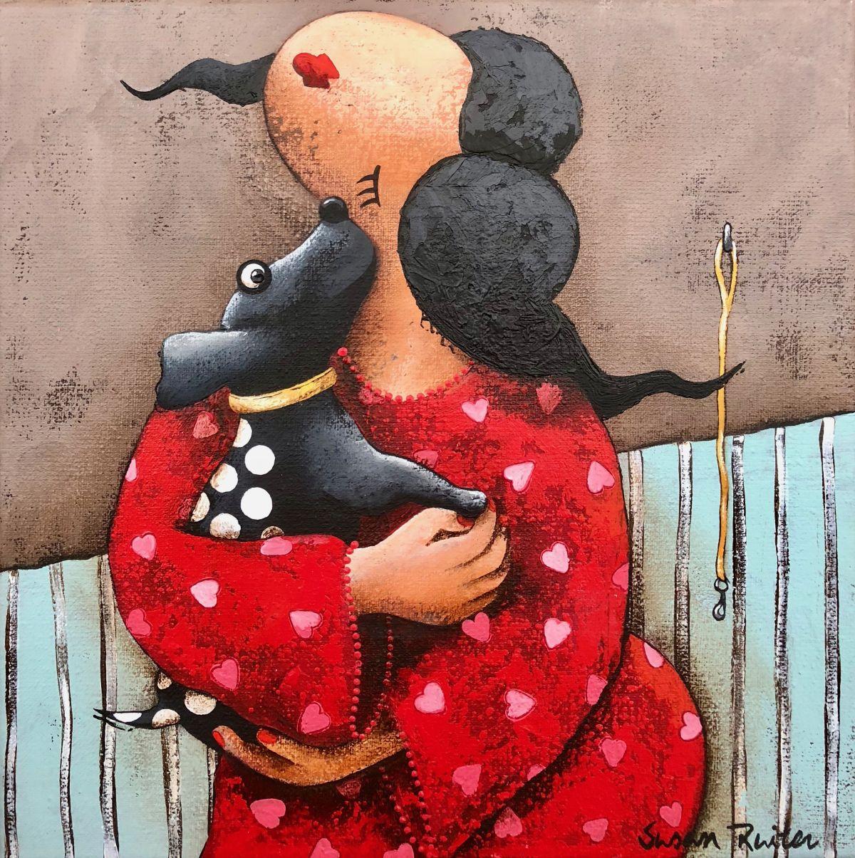 Kunst: Cudling my dog van kunstenaar Susan Ruiter