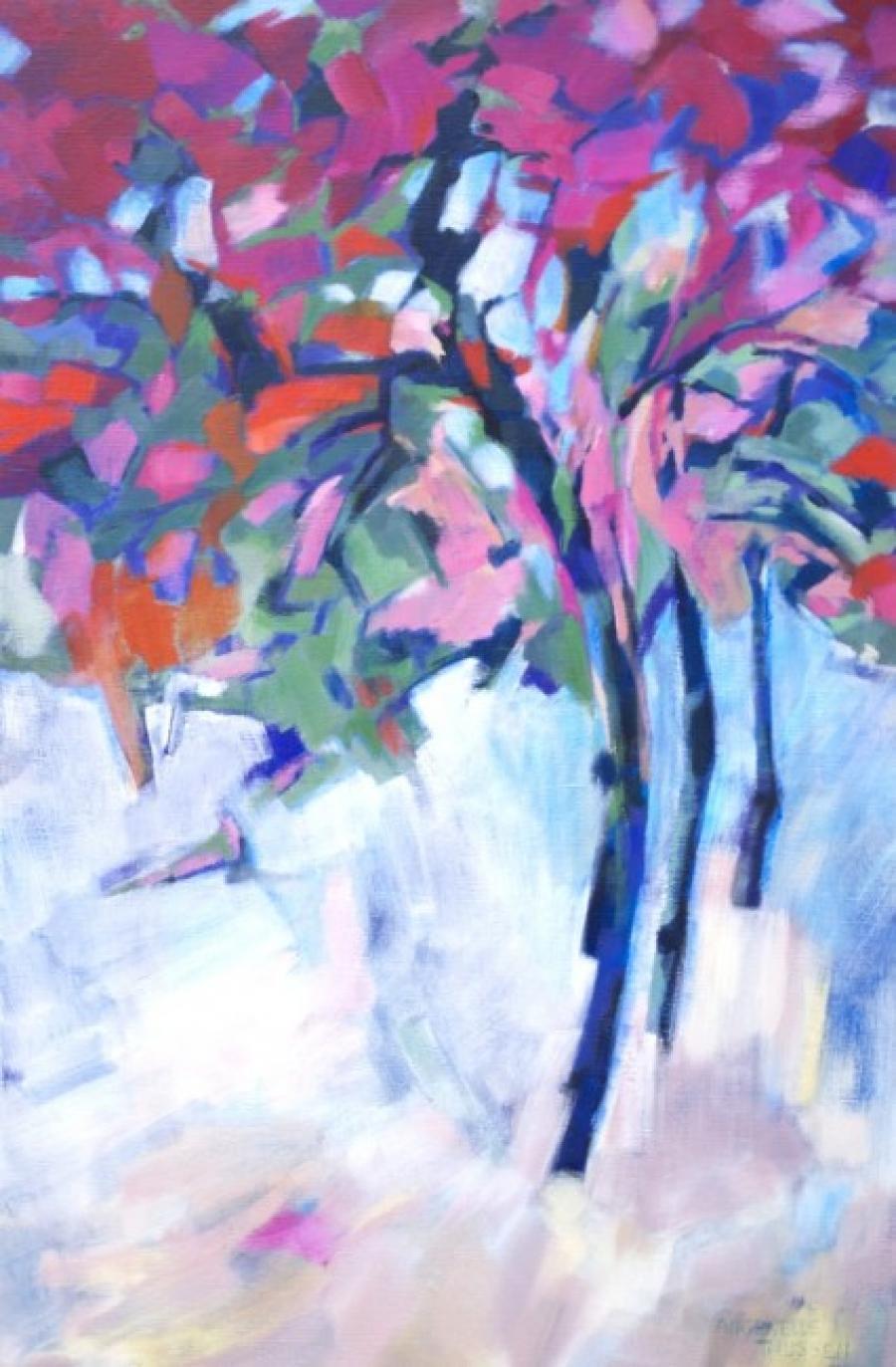 Kunst: Dancing red trees van kunstenaar Angenelle Thijssen