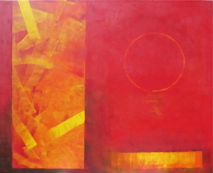 Kunst: donkercadmiumrood met geel van kunstenaar Koeno Jansen