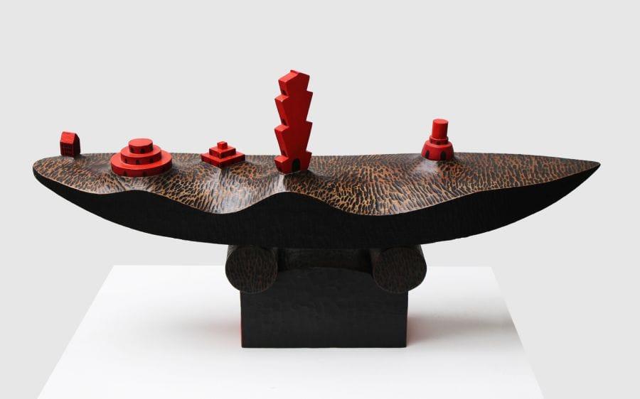 Kunst: Dorp in de rivier 1 van kunstenaar Frans Muhren