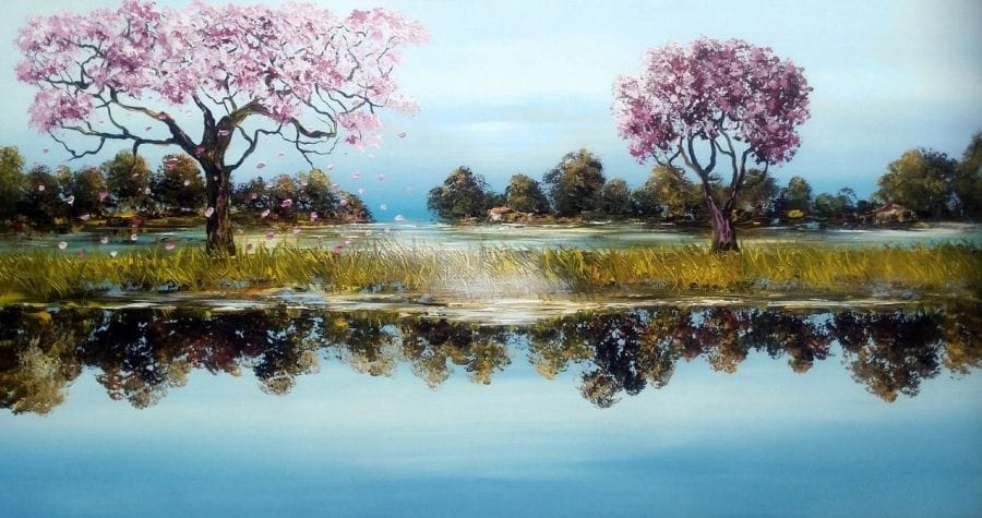 Kunst: Double  landscape II van kunstenaar Gena n Gena