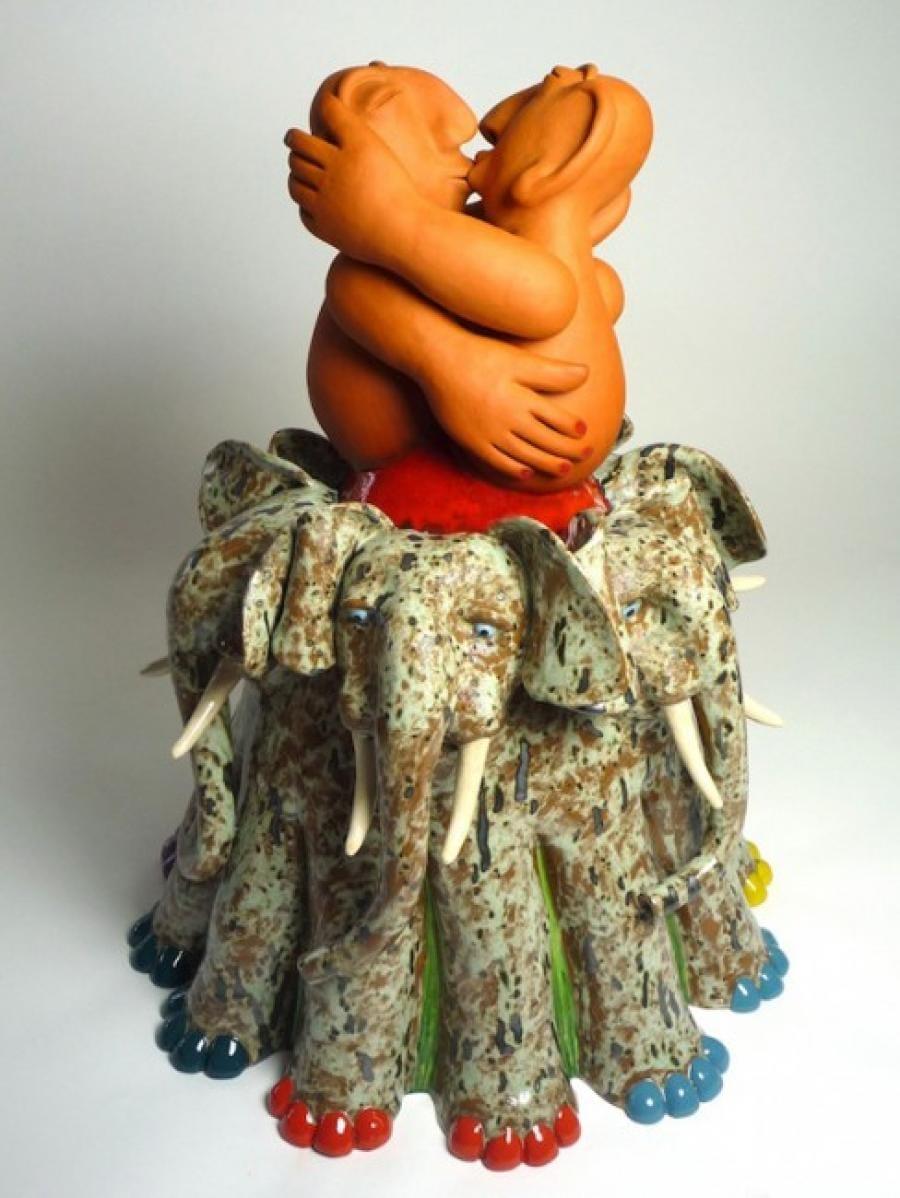 Kunst: Elephant Happiness van kunstenaar Margarita van der Velden