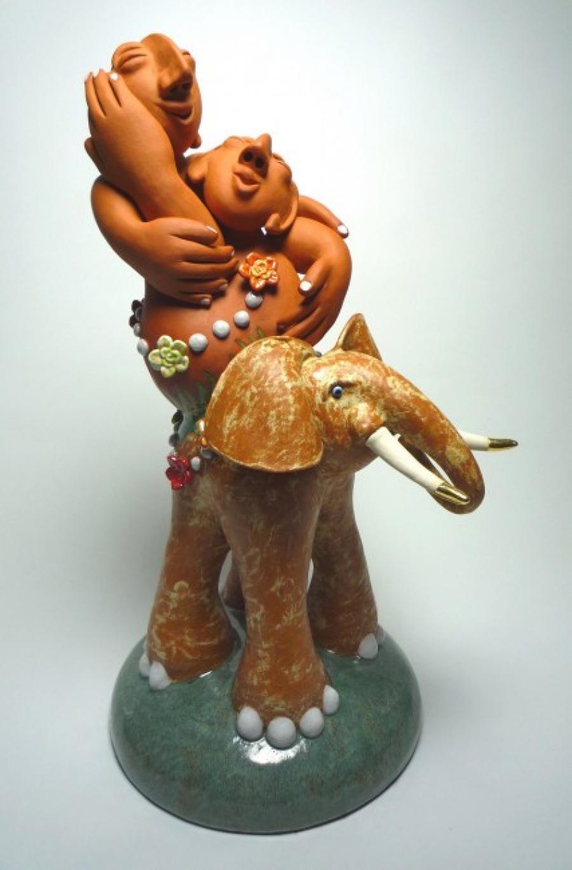 Kunst: Elephant Happiness II van kunstenaar Margarita van der Velden