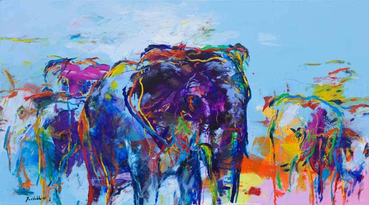 Kunst: Elephants van kunstenaar Jan van Lokhorst