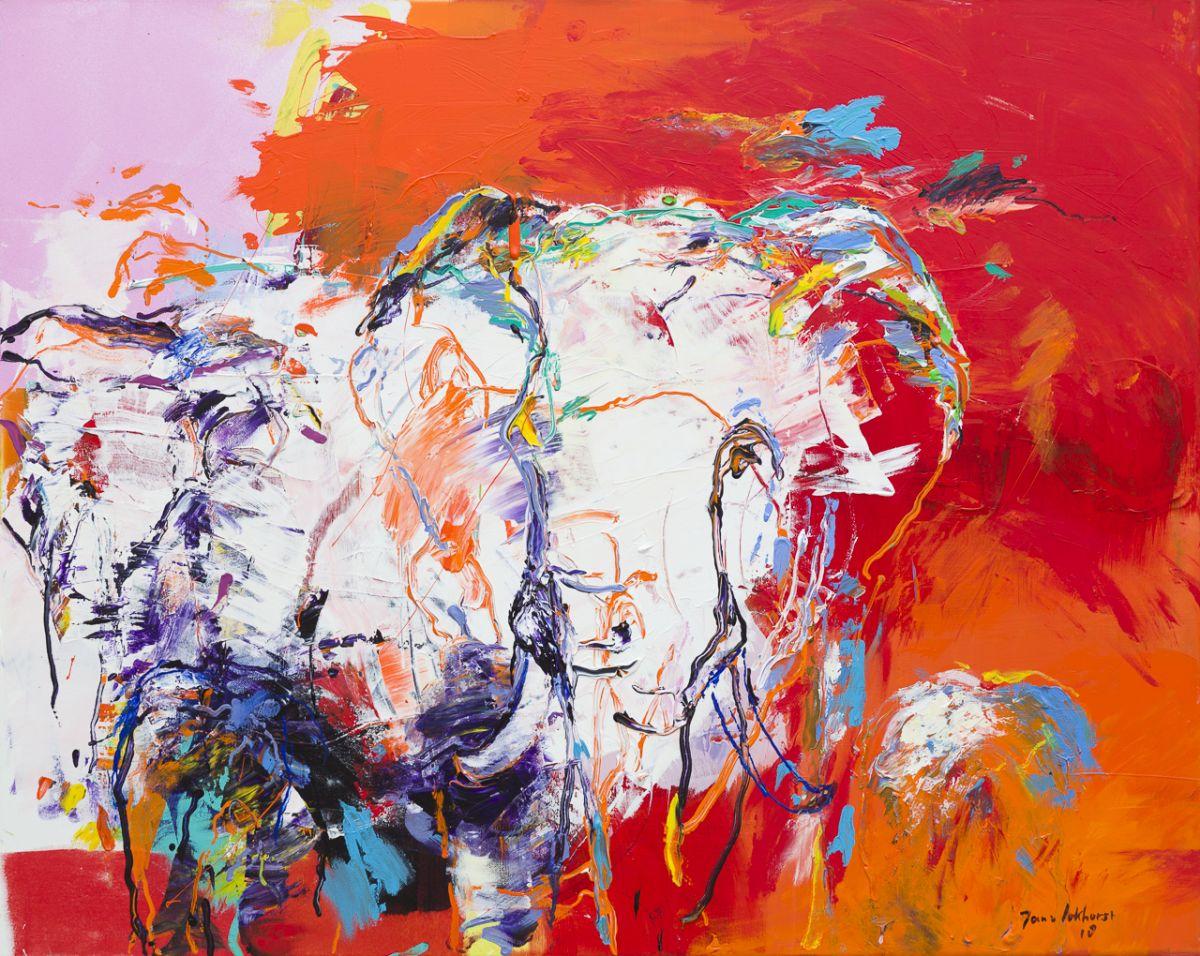 Kunst: Elephants Red (DO59) van kunstenaar Jan van Lokhorst