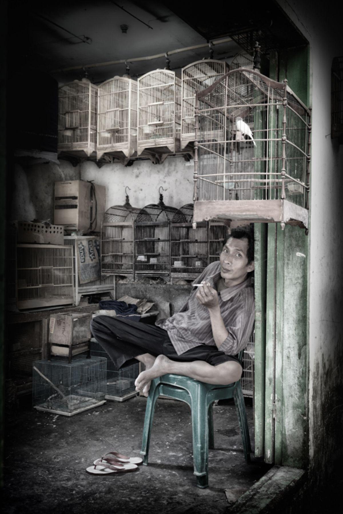 Kunst: Erik Verstegen Titel: De vogelkoopman van kunstenaar  Fotobond 2018