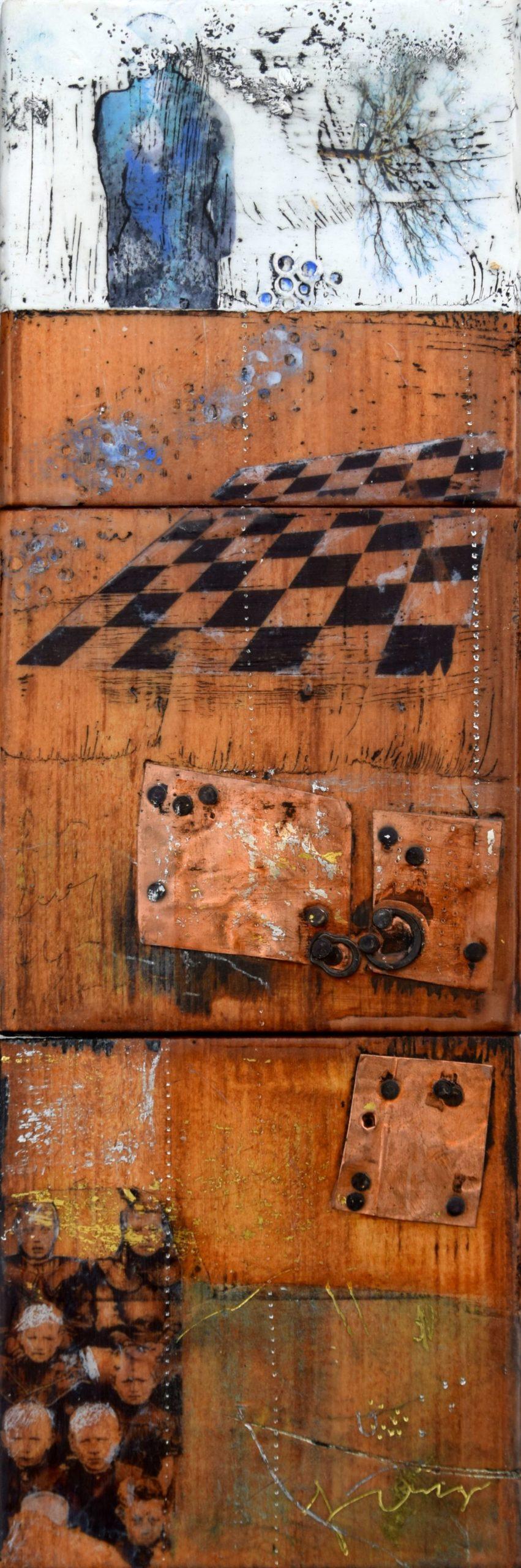 Kunst: Forgotten faces II van kunstenaar Trijnie Mohlmann