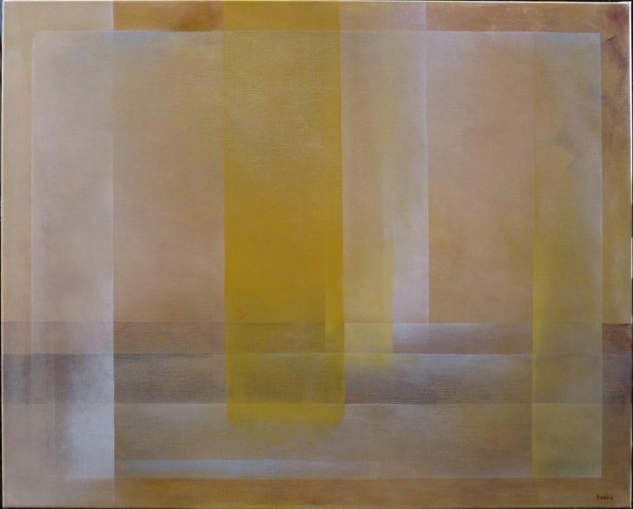 Kunst: Geel met wit en beige. van kunstenaar Koeno Jansen