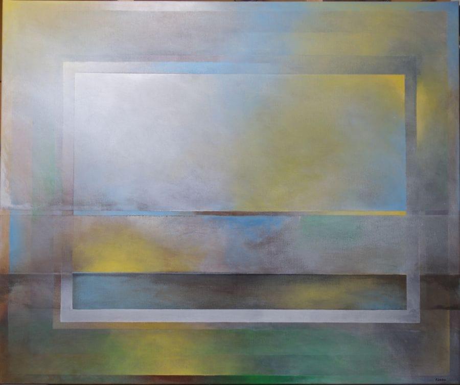Kunst: Geelgroenblauwwit 2 van kunstenaar Koeno Jansen