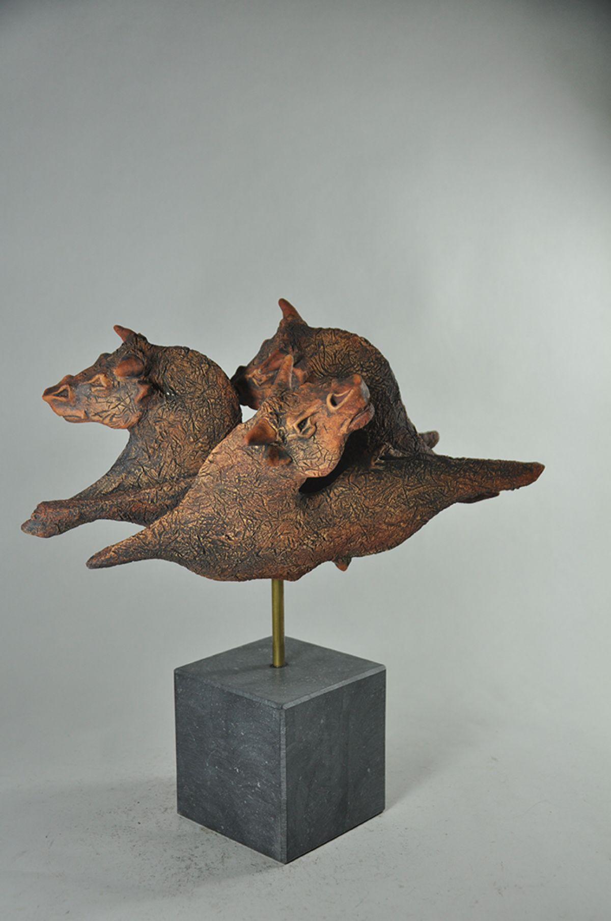 Kunst: Gevecht stier LH18-10-6 van kunstenaar Lei Hannen