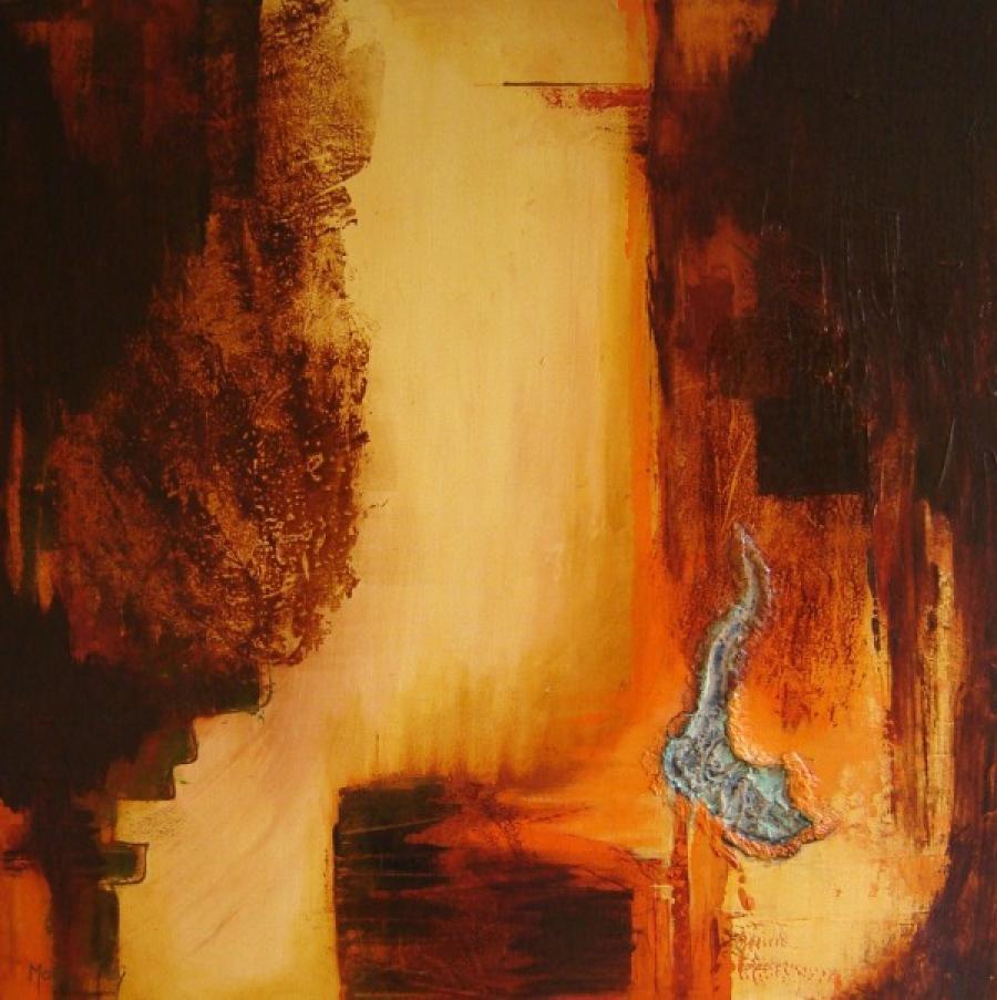 Kunst: Gloeiend 2 van kunstenaar Marly Freij(vergezichten)
