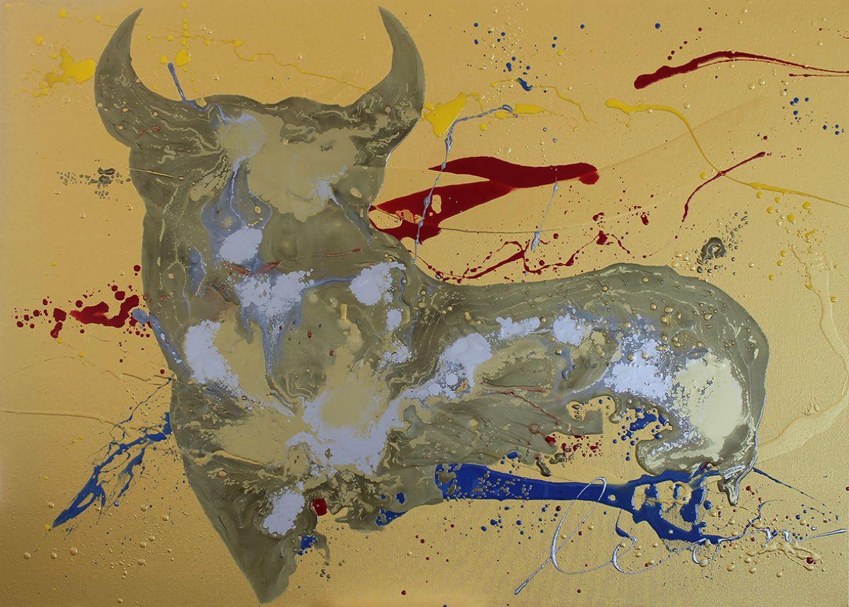 Kunst: Gold Bull X van kunstenaar Leon Bosboom