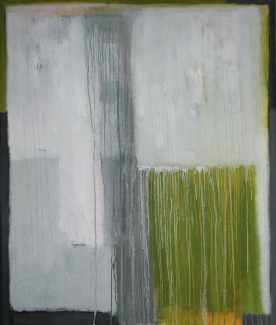Kunst: Grey land – Dripping van kunstenaar Lou Vos