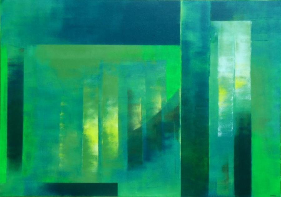 Kunst: groen en geel van kunstenaar Koeno Jansen
