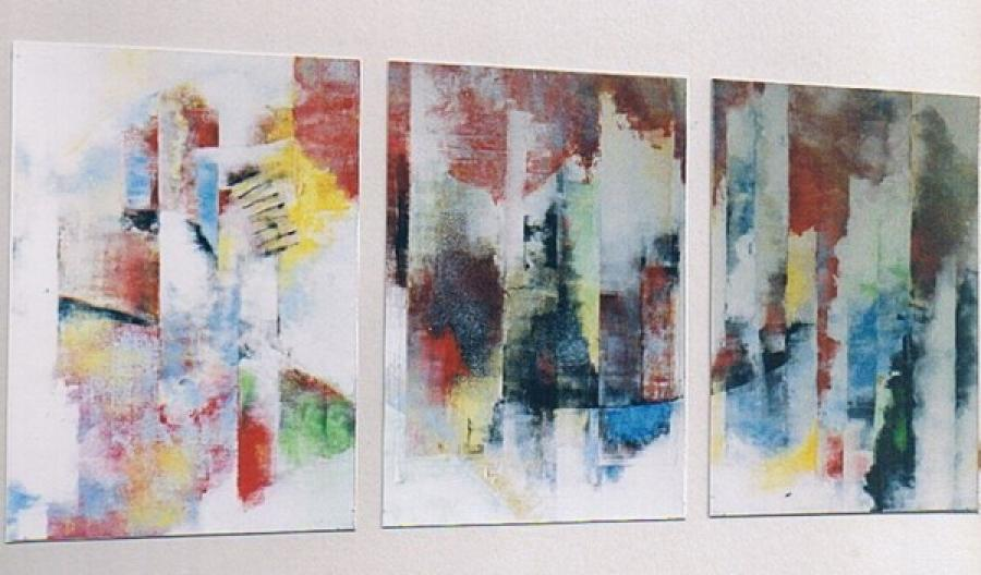 Kunst: groot drieluik zonder titel van kunstenaar Koeno Jansen