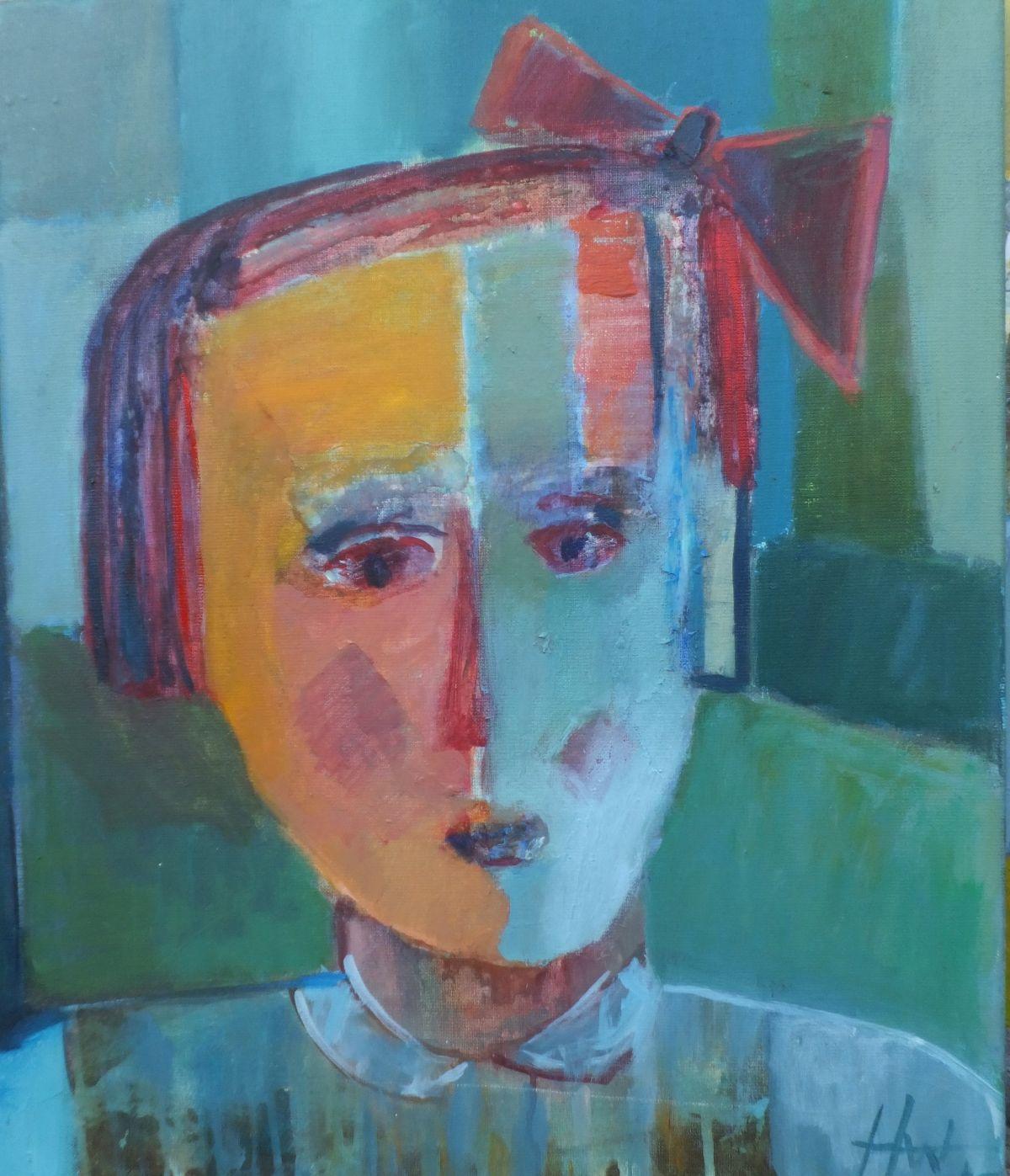 Kunst: het meisje met de strik van kunstenaar Heleen Wilke