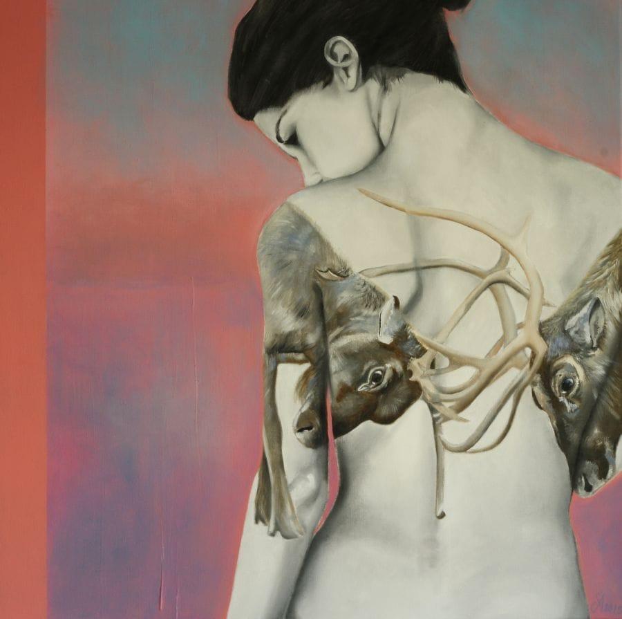 Kunst: Inner fight (Under my skin) van kunstenaar Angelique-Mathijssen-van-den Bosch