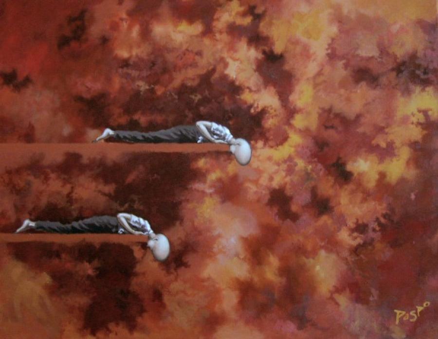 Kunst: Kijken naar omlaag van kunstenaar Paddy Spoelder