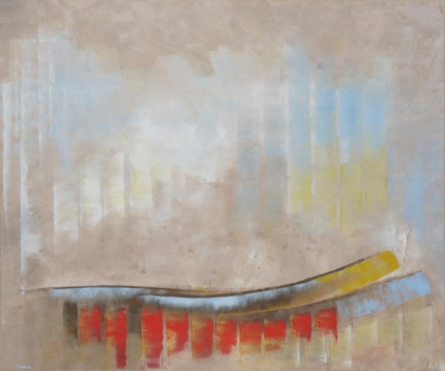 Kunst: kleuren in donker beige van kunstenaar Koeno Jansen
