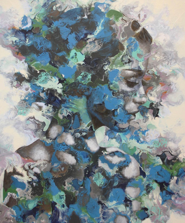 Kunst: Lady in blue van kunstenaar Marly Freij(portretten)