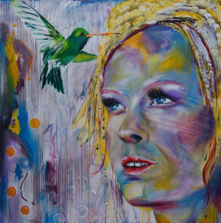 Kunst: Loving Colibri van kunstenaar Tamara Sille