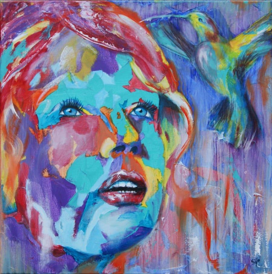 Kunst: Loving Colibri II van kunstenaar Tamara Sille