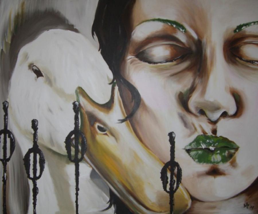 Kunst: Loving Duck one van kunstenaar Tamara Sille