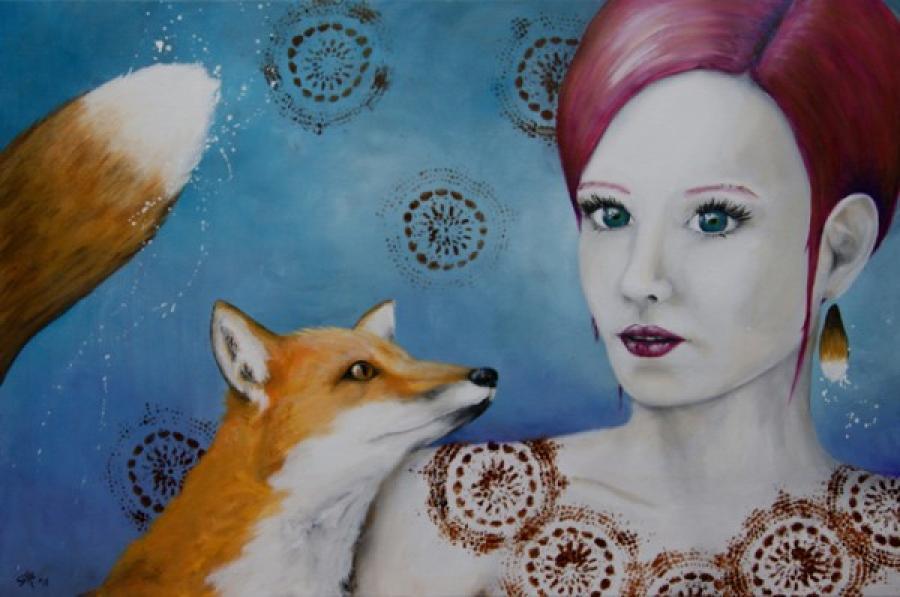 Kunst: Loving Fox II van kunstenaar Tamara Sille