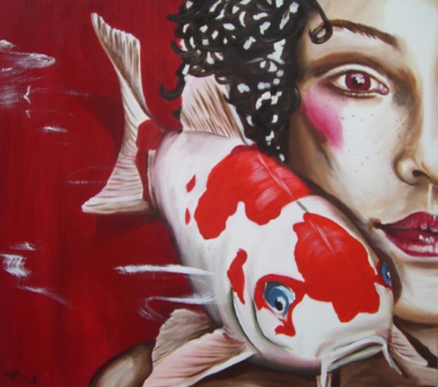 Kunst: Loving Koi one van kunstenaar Tamara Sille