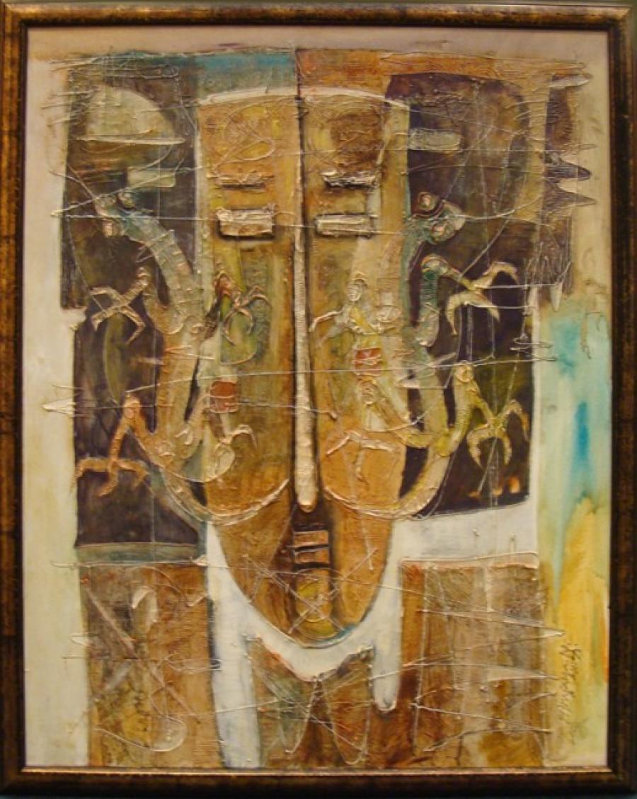 Kunst: Man met schorpioen van kunstenaar Fitra Jaya Nusananta
