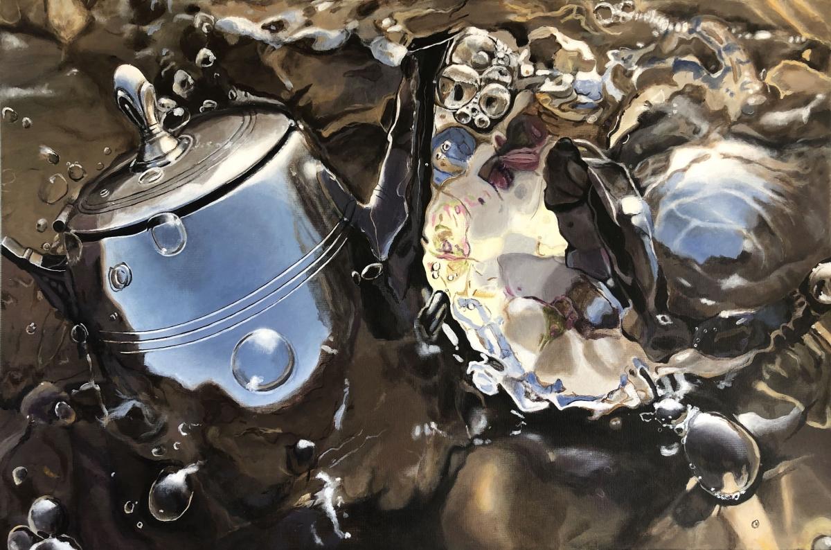 Kunst: Metaal met bubbels in het water van kunstenaar Hannelore Houdijk