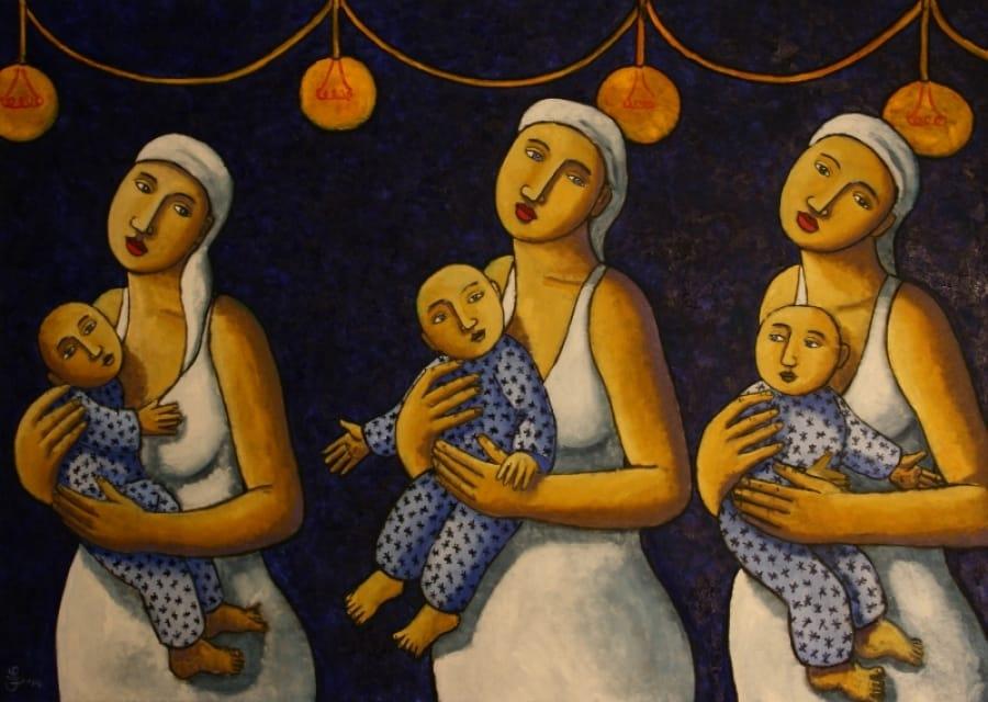 Kunst: Mothers in white van kunstenaar Jacques Tange