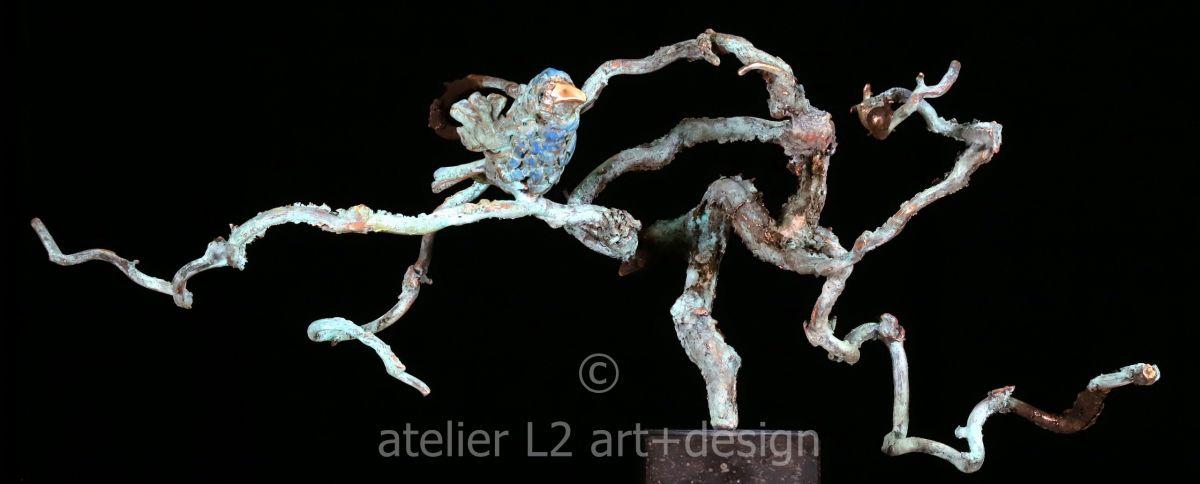 Kunst: mus op tak van kunstenaar Leny Franken